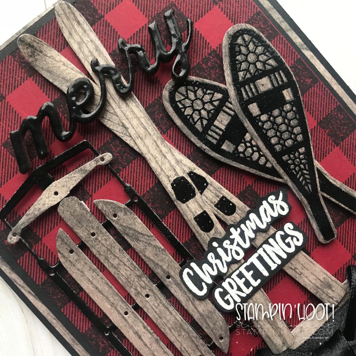 Buffalo Check Stamp Set & Alpine Adventures Bundle by Stampin' Up! Northwoods Christmas Card created by Stesha Bloodhart. Stampin' Hoot! #steshabloodhart #stampinhoot
