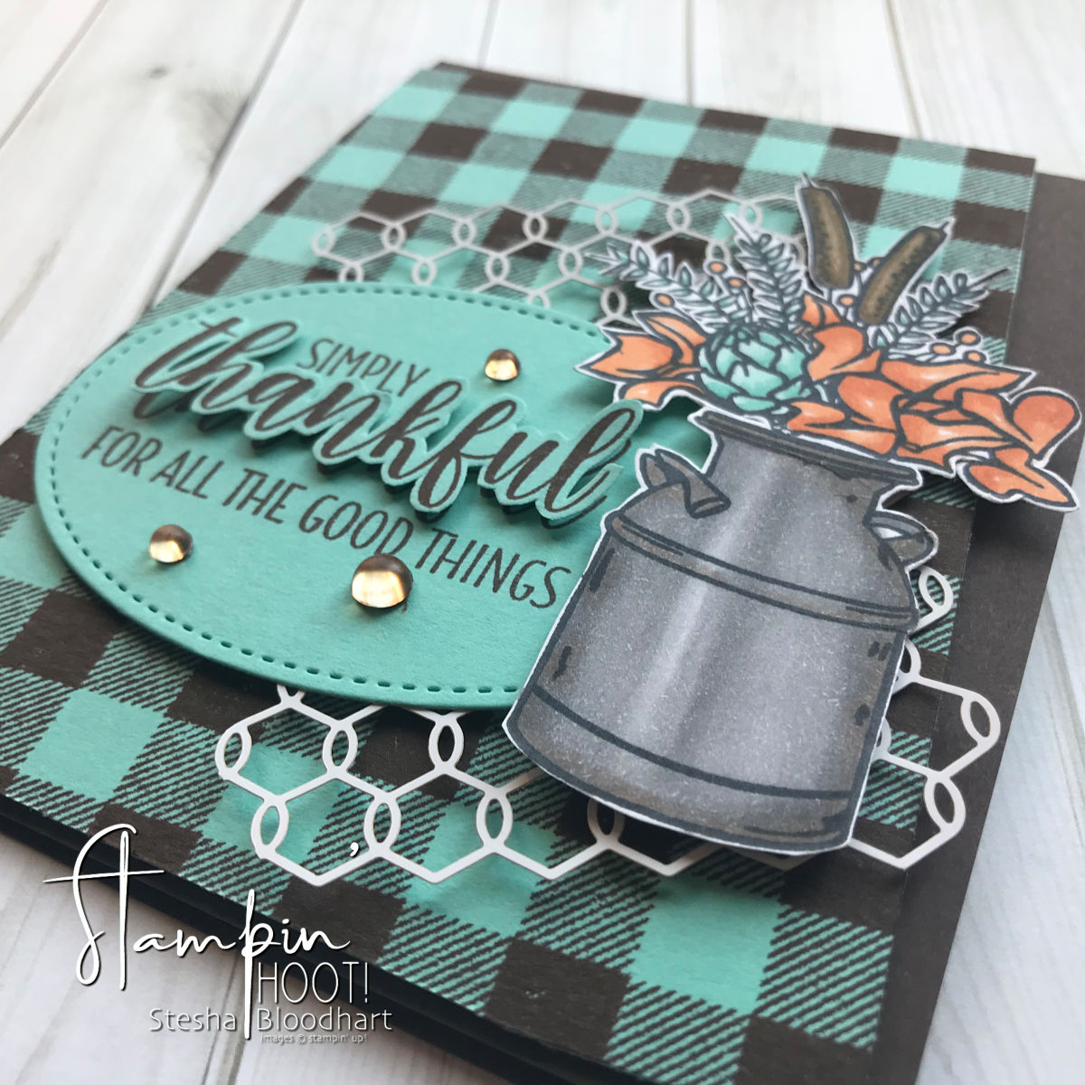 Country Home Stamp Set by Stampin' Up! Simply Thankful Card by Stesha Bloodhart for the TGIF Challenge #tgifc176 #steshabloodhart #stampinhoot