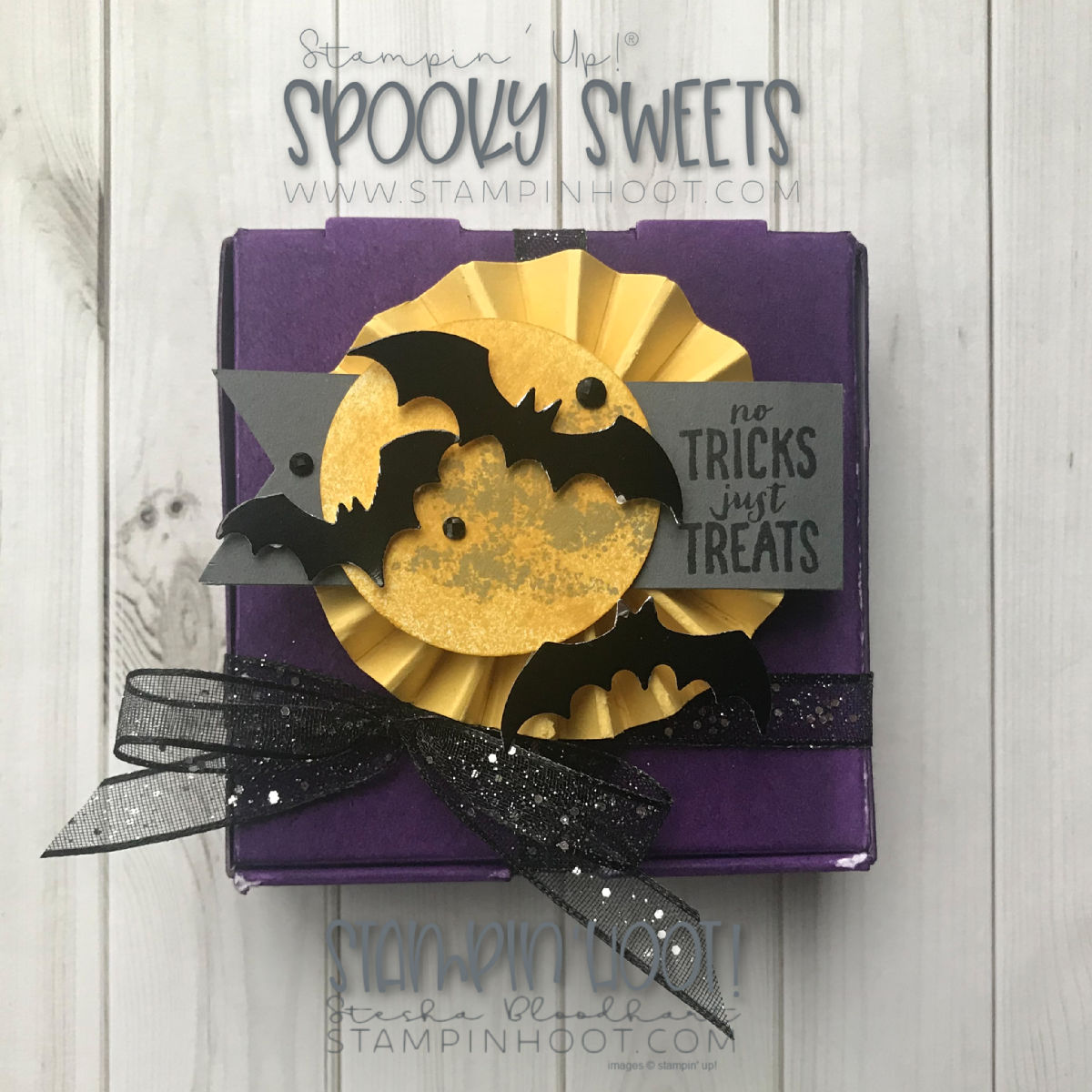 Spooky Sweets Bundle by Stampin' Up! Halloween Mini Pizza Box Gift Packaging by Stesha Bloodhart, Stampin' Hoot! #tgifc178 #steshabloodhart #stampinhoot