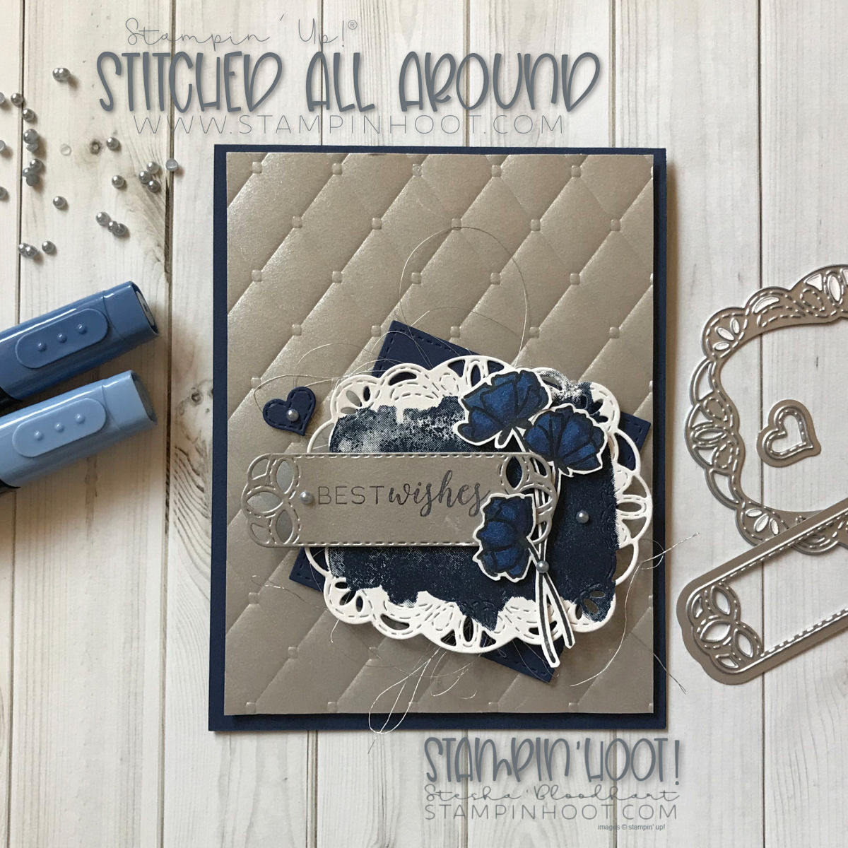 Stitched All Around Bundle by Stampin' Up! Best Wishes Wedding Card by Stesha Bloodhart Stampin' Hoot! for #GDP156 Case the Designer