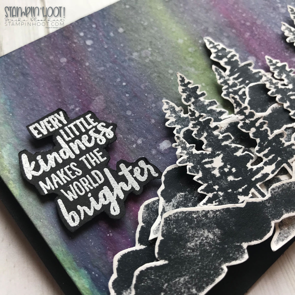 Waterfront Stamp Set by Stampin' Up! Galaxy Background Card created by Stesha Bloodhart, Stampin' Hoot! for the What Will You Stamp #wwys186 Challenge. #stampinhoot #steshabloodhart