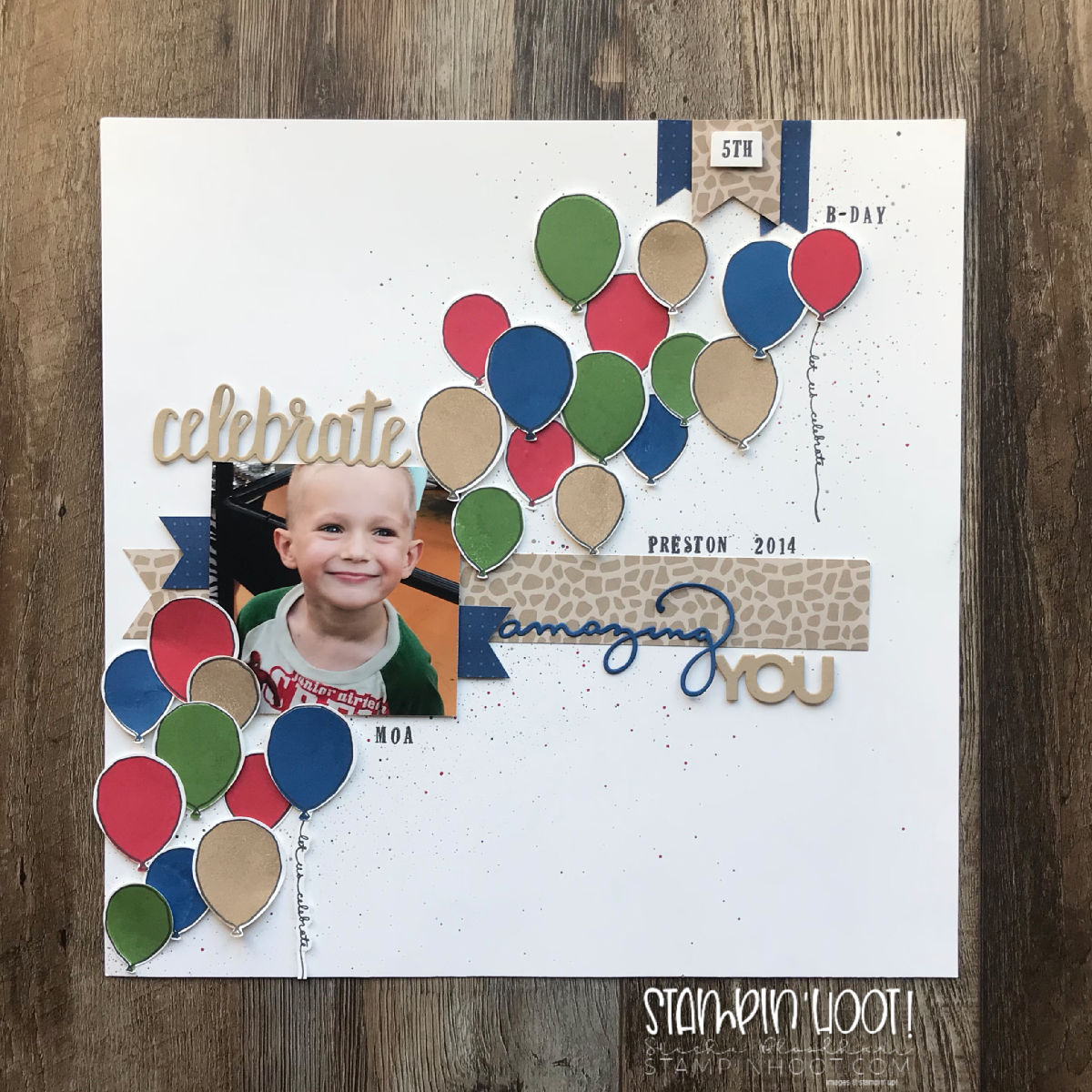 Celebrate Amazing You Scrapbook Page for the Scrapbooking Global Blog Hop October 2018 Scrapbook Page by Stesha Bloodhart, Stampin' Hoot!