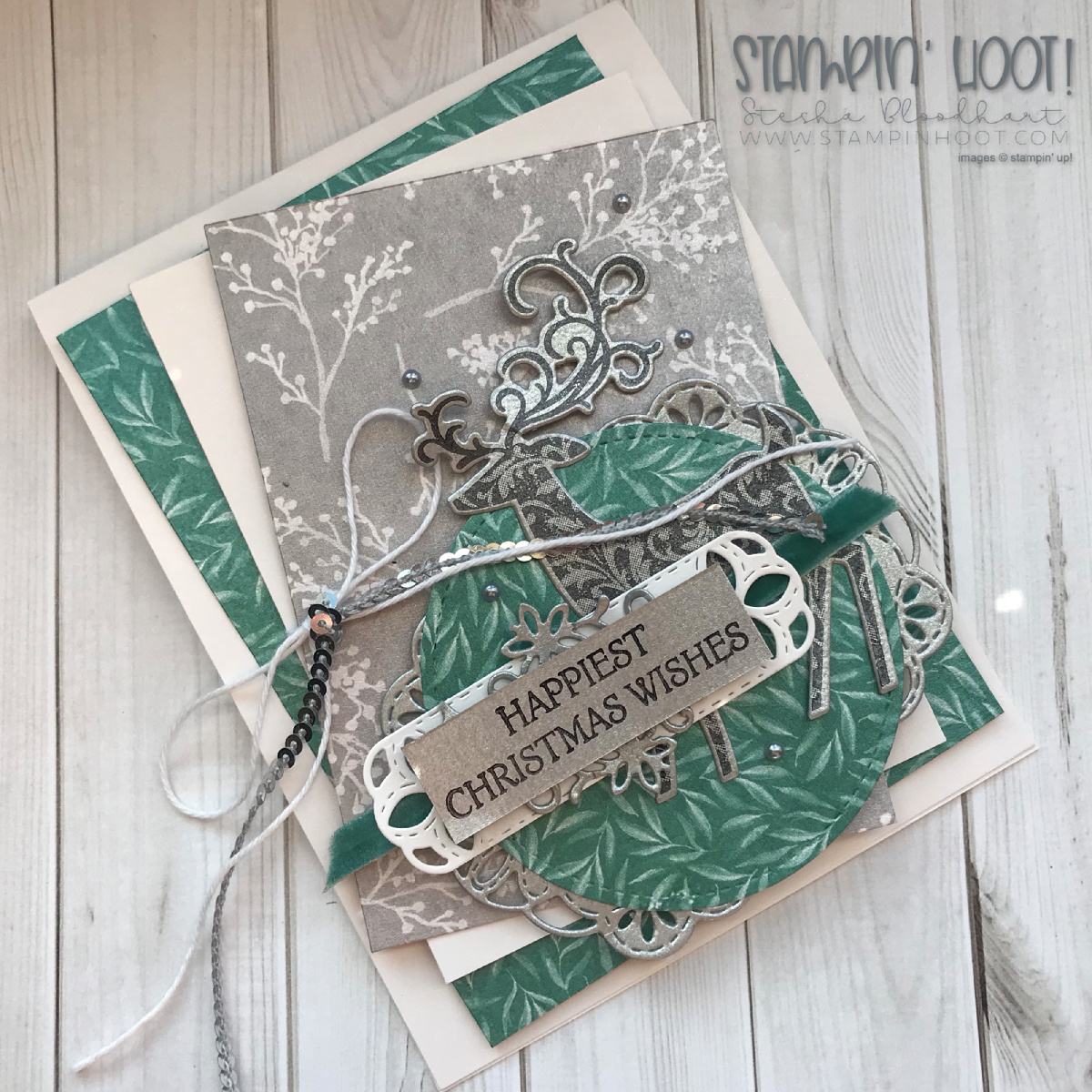 Dashing Deer Bundle by Stampin' Up! for the Stamp Review Crew Blog Hop. Christmas card created by Stesha Bloohart, Stampin' Hoot! #stampinhoot #steshabloohart