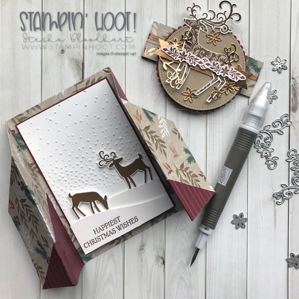 Dashing Deer Bundle by Stampin' Up! Christmas Gatefold Card for the Pals Wicked Folds Blog Hop created by Stampin' Hoot! Stesha Bloodhart #stampinhoot #steshabloodhart