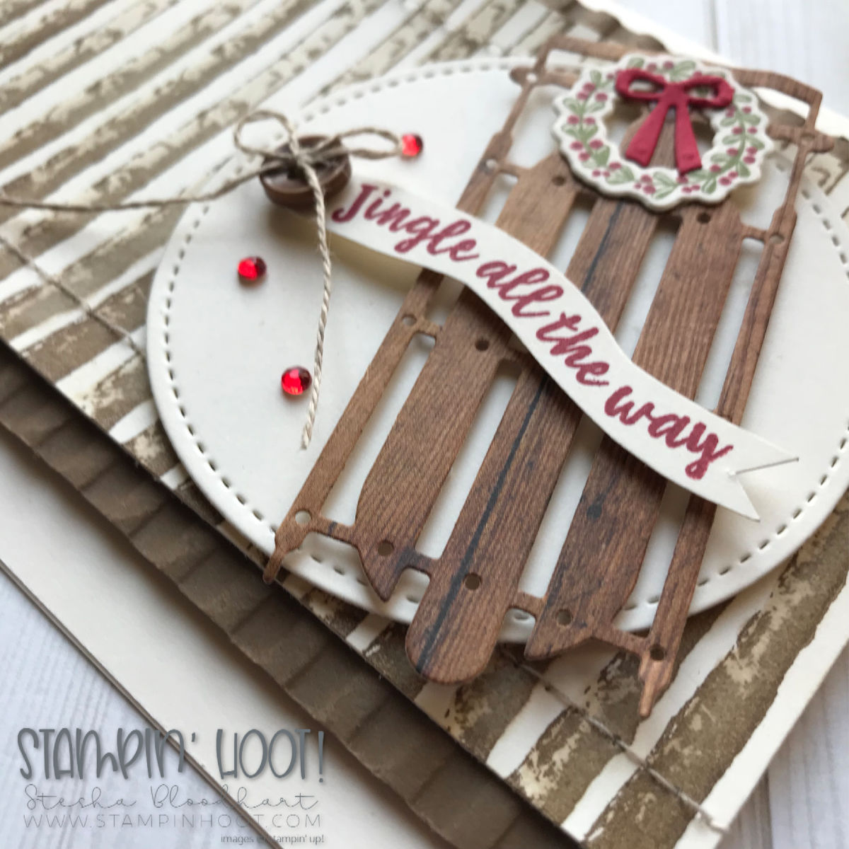 Alpine Adventure and Winter Woods Bundles by Stampin' Up! Handmade Jingle All the Way Holiday Card by Stesha Bloodhart, Stampin' Hoot! #steshabloodhart #stampinhoot