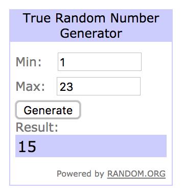 Random Number Generator Result 15