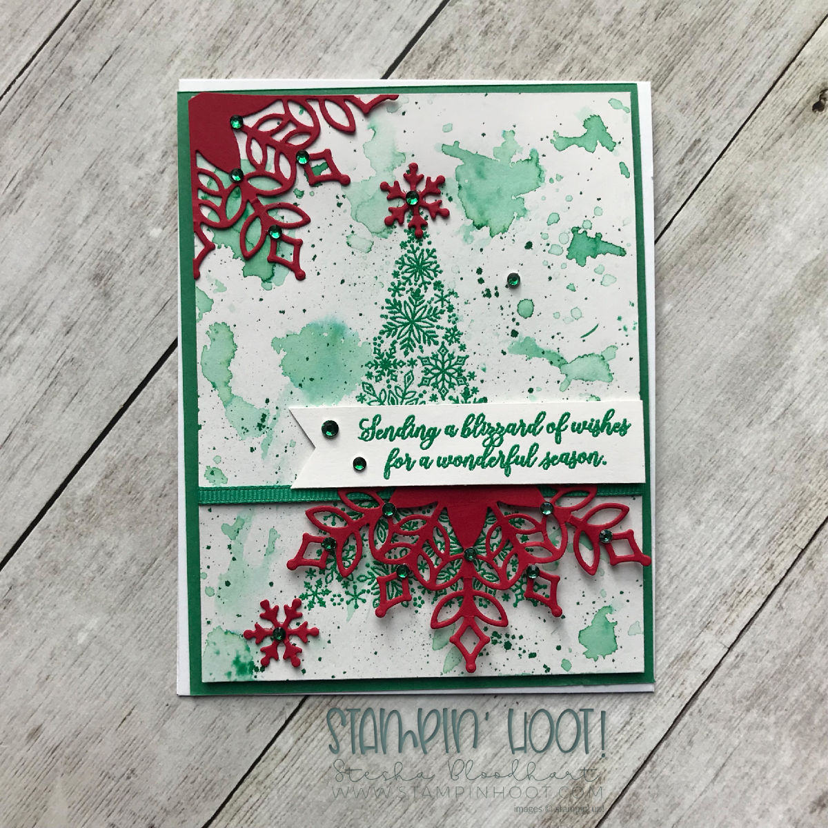Snow Is Glistening Limited Release Stamp Set by Stampin' Up! Winter Holiday Card by Stesha Bloodhart, Stampin' Hoot! #steshabloodhart #stampinhoot
