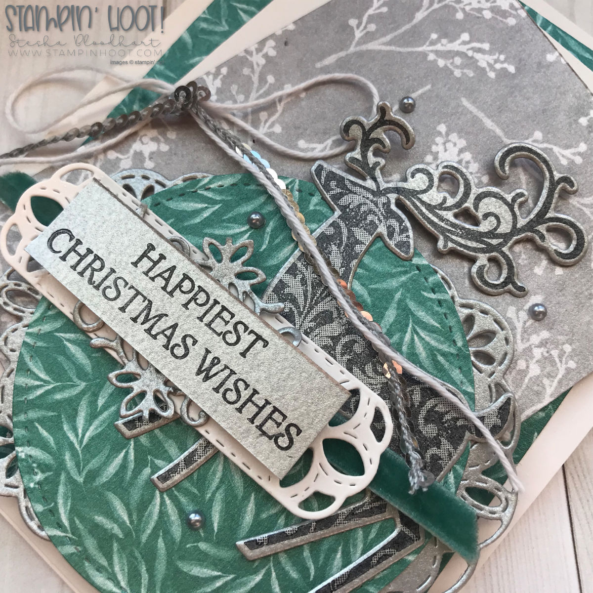 Dashing Deer Bundle by Stampin' Up! Christmas Card created by Stesha Bloodhart, Stampin' Hoot! for the Stamp Review Crew Blog Hop