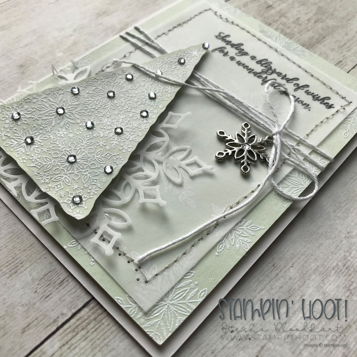 Snowflake Showcase Limited Product Release Card Created by Stesha Bloodhart, Stampin' Hoot! #stampinhoot #steshabloodhart