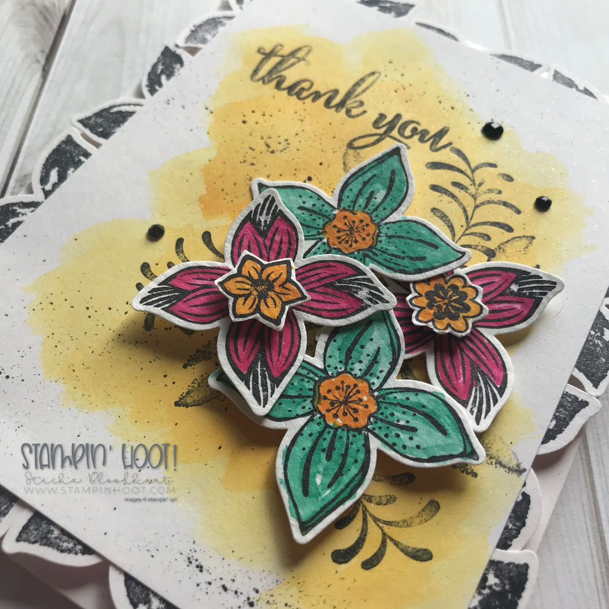 #tgifc180 Create a Thank You Card using the Pop of Petals Bundle by Stampin' Up! Card Created by Stesha Bloodhart, Stampin' Hoot! #steshabloodhart #stampinhoot