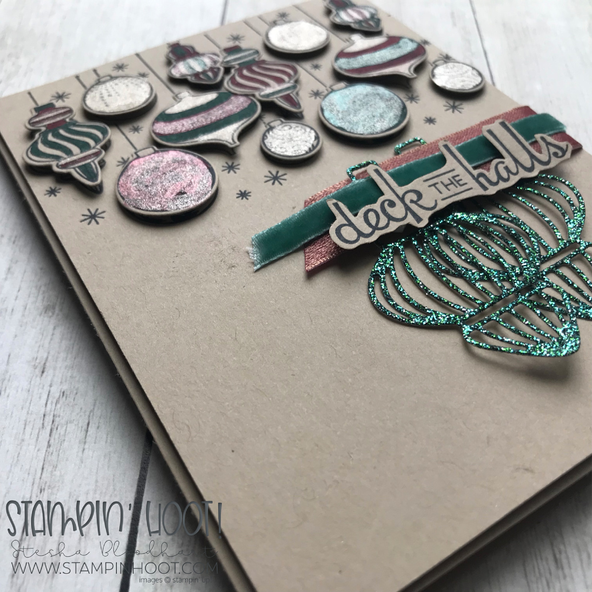 Beautiful Baubles Bundle by Stampin' Up! Holiday Card created by Stesha Bloodhart, Stampin' Hoot! for #GDP165 Color Challenge #steshabloodhart #stampinhoot