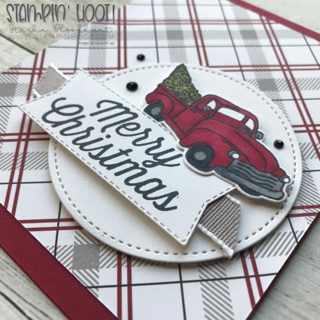 Farmhouse Christmas Christmas Card by Stesha Bloodhart, Stampin' Hoot! Free Tutorial! #steshabloodhart #stampinhoot