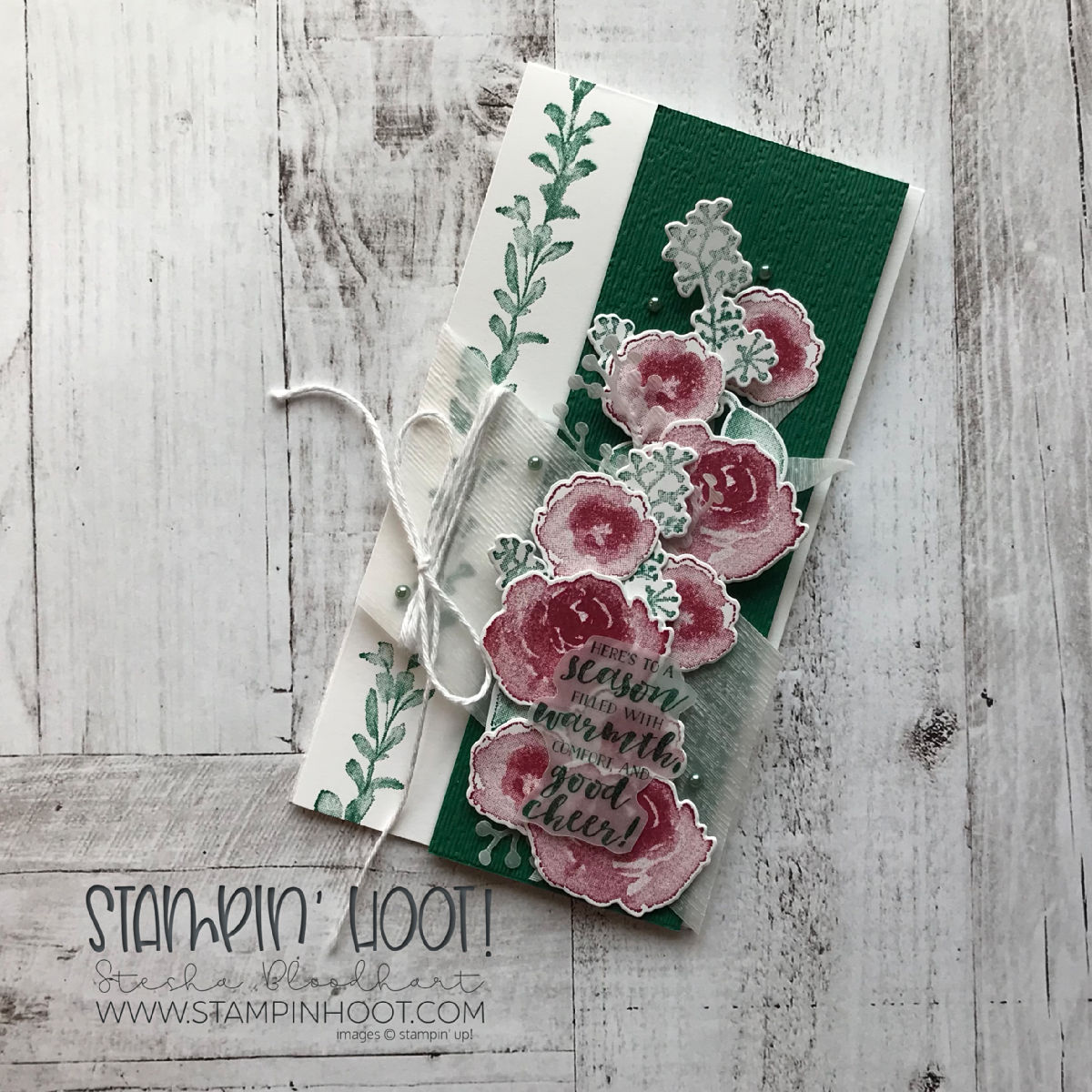 First Frost Bundle By Stampin' Up! Christmas Card by Stesha Bloodhart, Stampin' Hoot! For the Stamp Review Crew Blog Hop. #steshabloodhart #stampinhoot