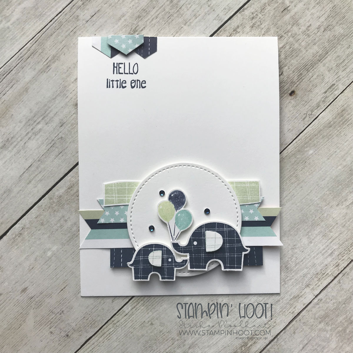 Little Elephant Bundle by Stampin' Up! Baby Card created by Stesha Bloodhart, Stampin' Hoot! #steshabloodhart #stampinhoot