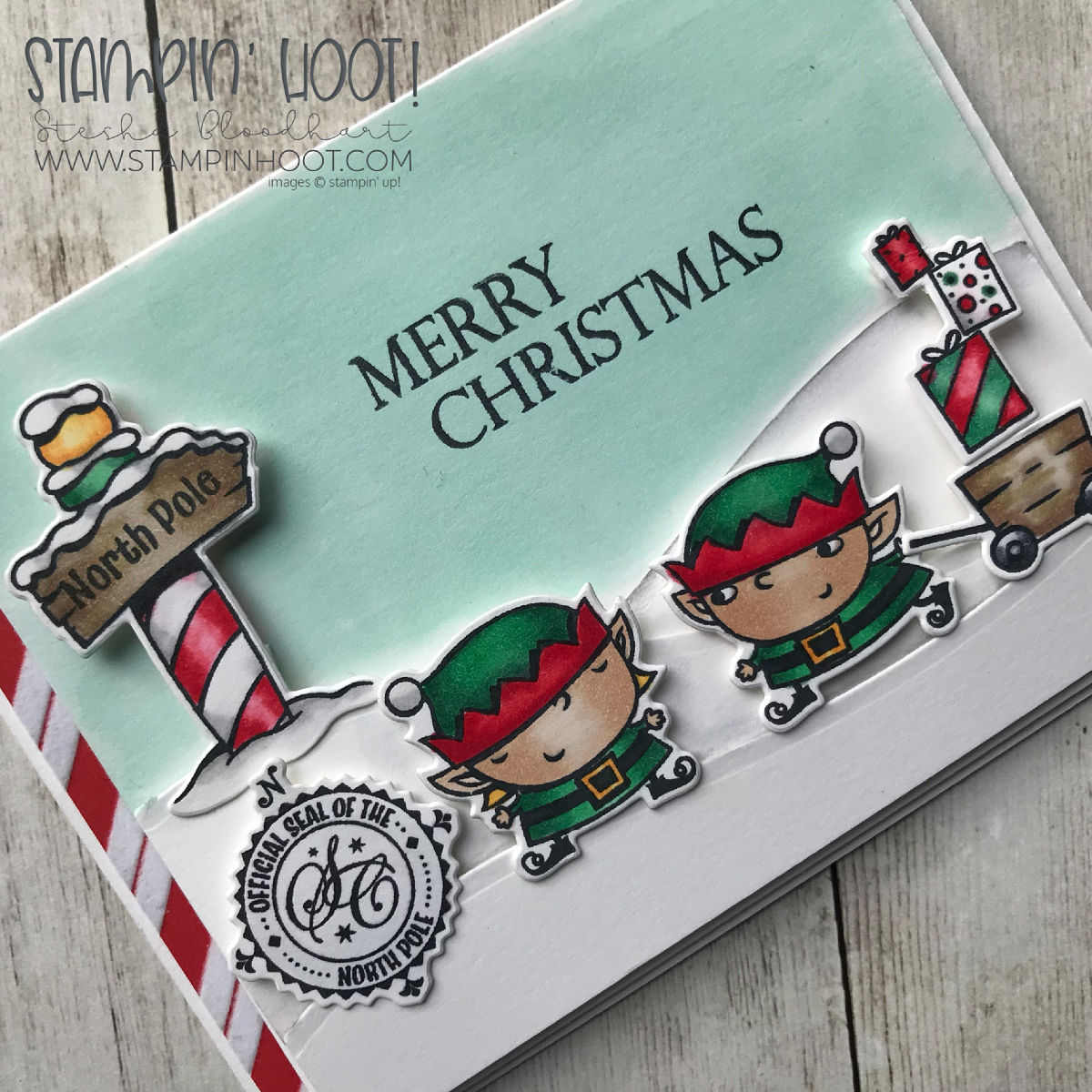 Signs of Santa Bundle by Stampin' Up! Holiday Card created by Stesha Bloodhart, Stampin' Hoot! #steshabloodhart #stampinhoot