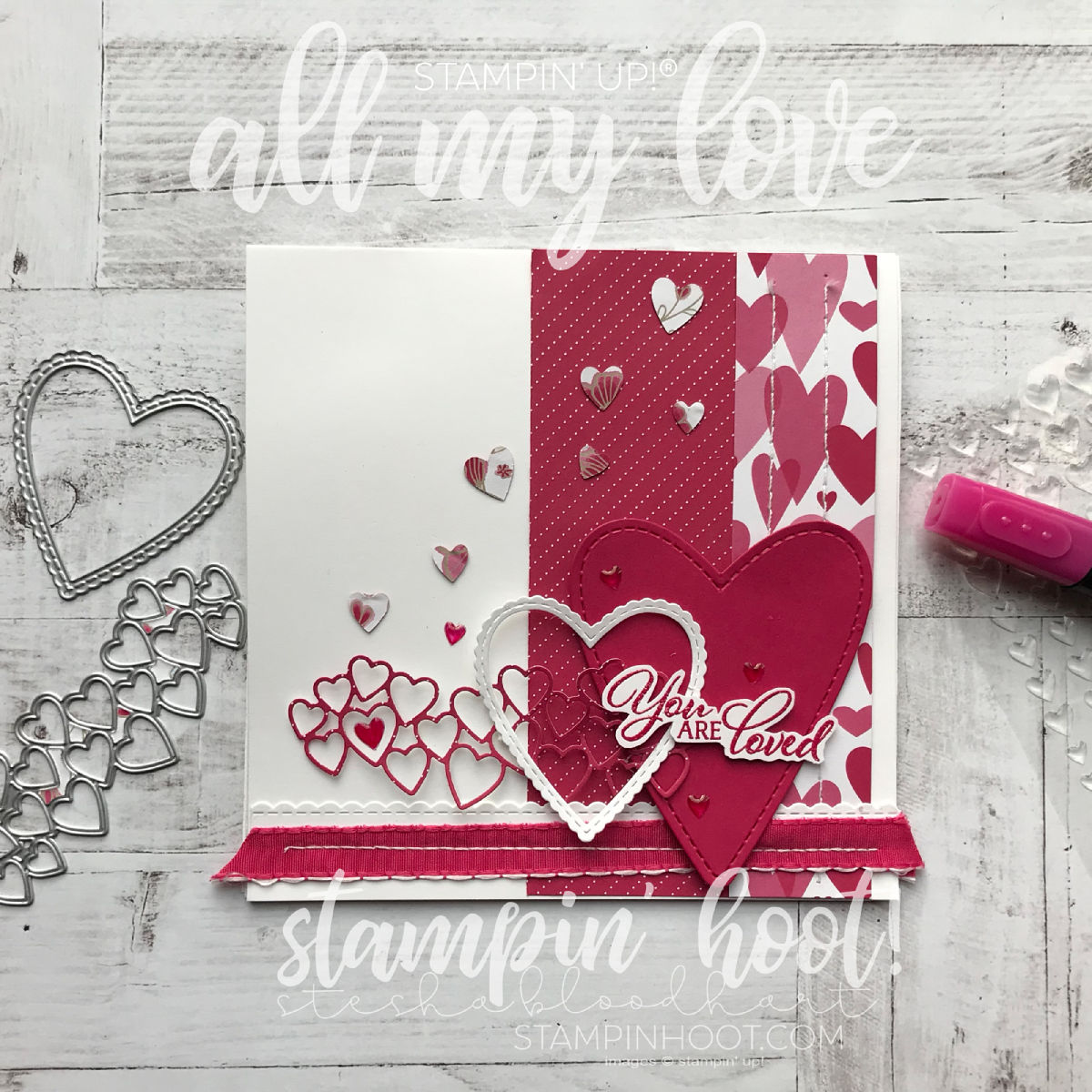 A Sneak Peek into the All My Love Suite from the 2019 Stampin' Up! Occasions CATALOG. Valentines Card created by Stesha Bloodhart, Stampin' Hoot! #steshabloodhart #stampinhoot