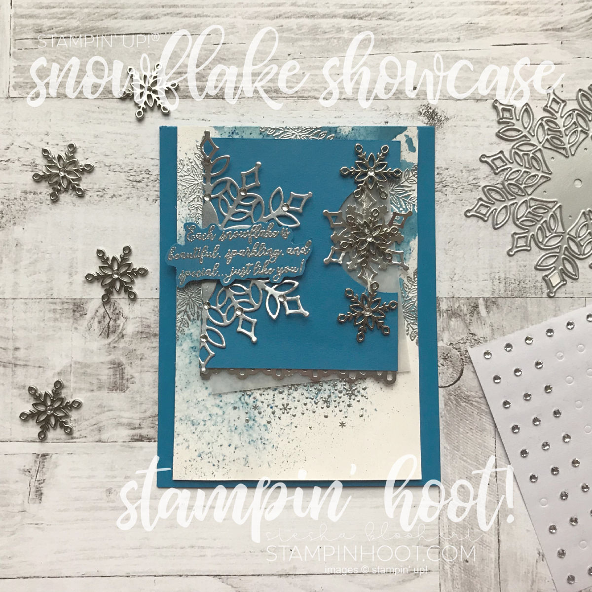 Create a holiday card using the Snowflake Showcase Suite of Products available through November 30, 2018. Snowfall Thinlits. Stesha Bloodhart Stampin' Hoot! #gdp166 #stampinhoot