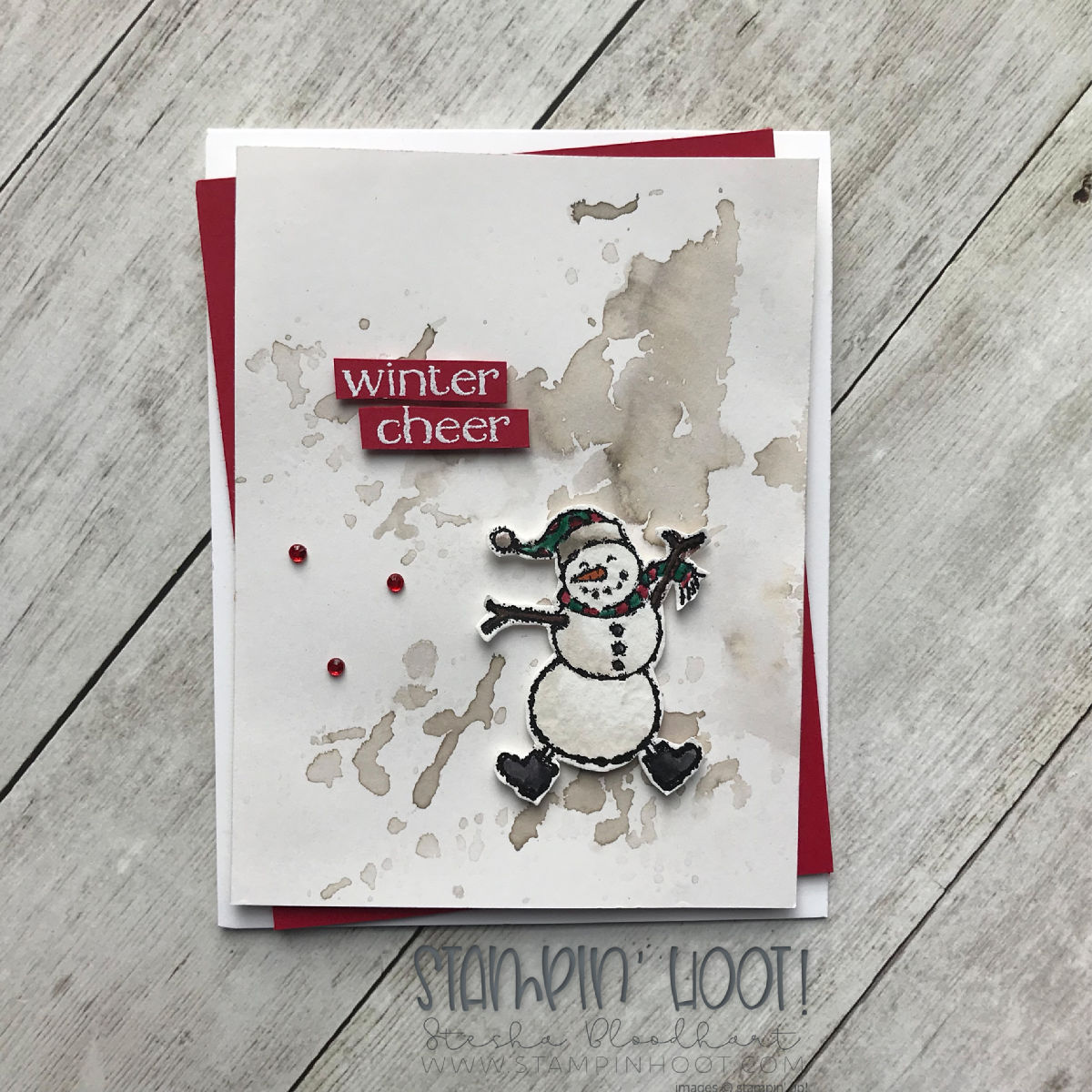 Spirited Snowmen Stamp Set by Stampin' Up! A trio of Holiday Cards by Stesha Bloodhart, Stampin' Hoot! #steshabloodhart #stampinhoot