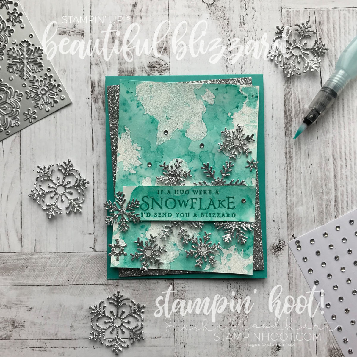 Beautiful Blizzard Bundle by Stampin' Up! Glitter Christmas Card created by Stesha Bloodhart, Stampin' Hoot!
