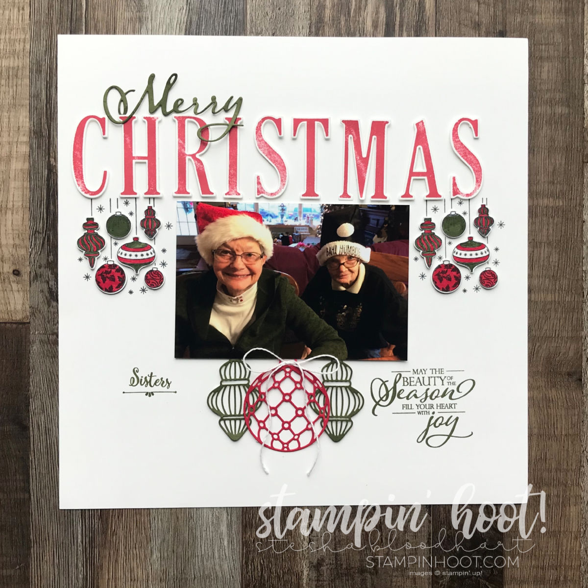 Merry Christmas Scrapbook Page for the Holiday Happenings Blog Hop for Scrapbooking Global Design Team . Stesha Bloodhart, Stampin' Hoot!