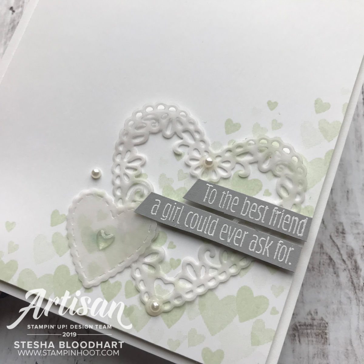 Create these handmade valentines using the All My Love Suite of Products. Created by 2019 Artisan Stesha Bloodhart, Stampin' Hoot!