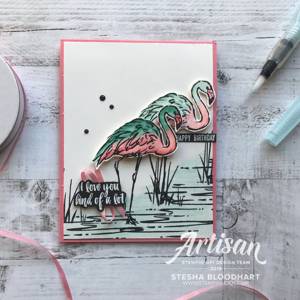 Fabulous Flamingo Stamp Set by Stampin' Up! Card Created by Stesha Bloodhart, Stampin' Hoot! for the Stamp Review Crew Blog Hop