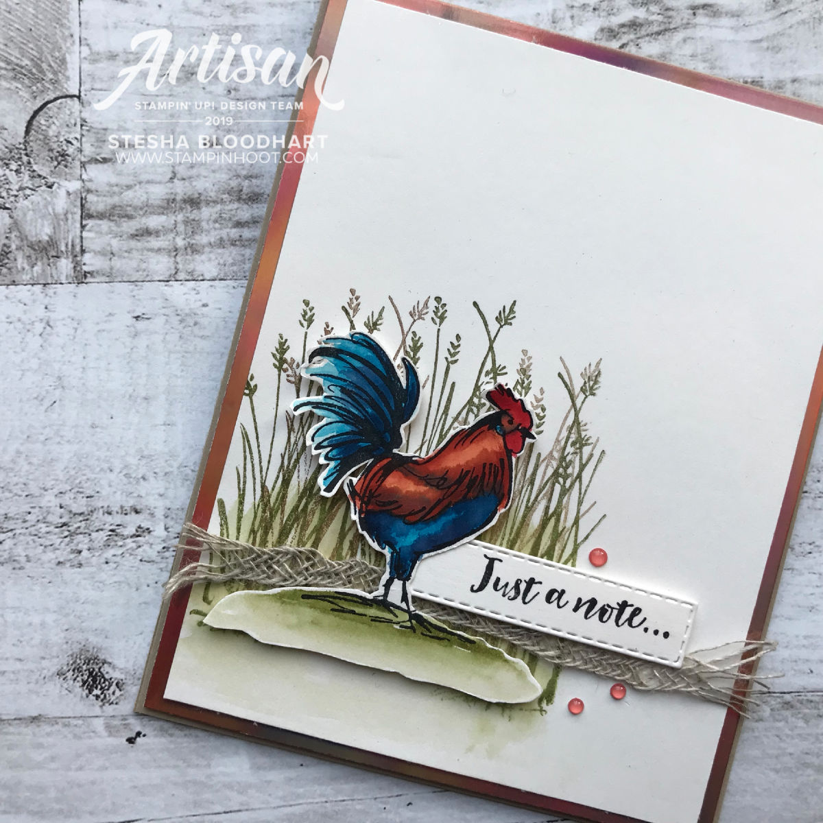 Home to Roost Cling Stamp Set - FREE with $50+ Product Purchase during Sale-A-Bration.  Handmade by Stesha Bloodhart, Stampin' Hoot! 2019 Artisan