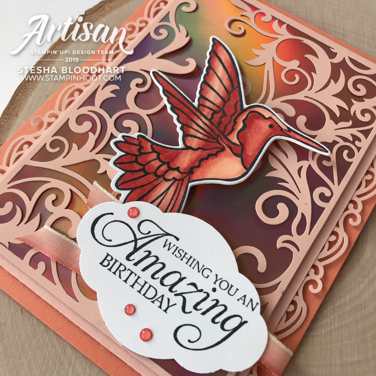 Humming Along Bundle and Grapefruit Grove Foil Sheets by Stampin' Up! Card created by Stesha Bloodhart, Stampin' Hoot! #stampreviewcrew #steshabloodhart #stampinhoot