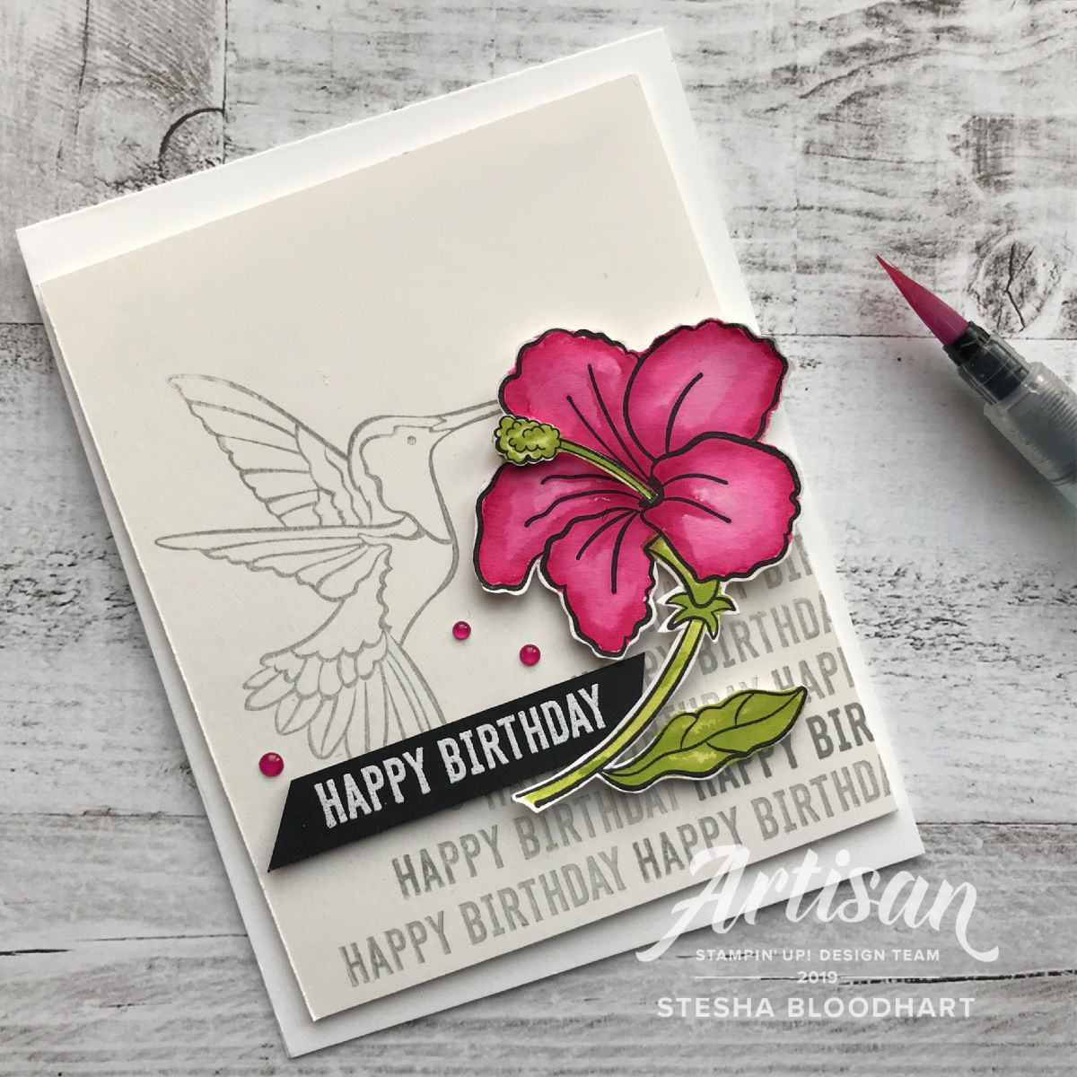 Humming Along and Itty Bitty Birthdays Cling Stamp Sets by Stampin' Up! Card Created by Artisan Stesha Bloodhart, Stampin' Hoot! for the #tgifc193 Color Challenge