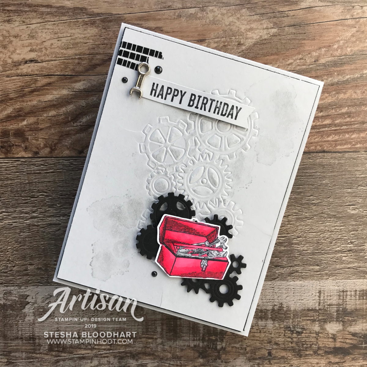 Geared Up Garage Bundle by Stampin' Up! Happy Birthday Card by Stesha Bloodhart, Stampin' Hoot!
