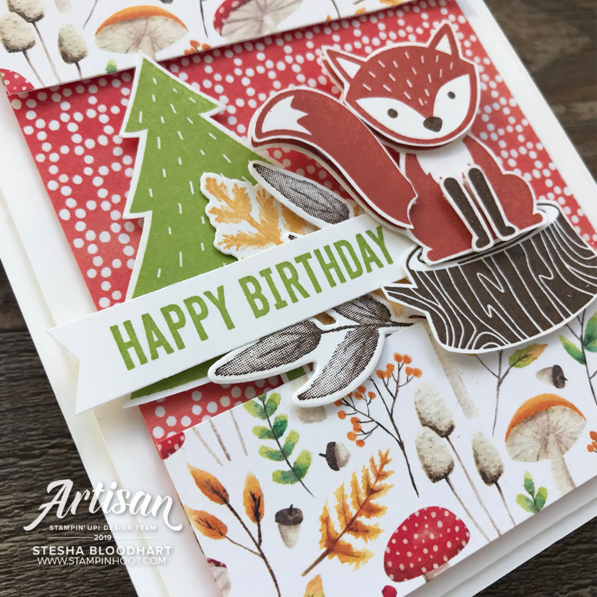 #tgifc202 sketch challenge using Stampin' Up! Painted Seasons Bundle, Foxy Friends Stamp Set. Four Seasons Framelits Dies, & Itty Bitty Birthdays, Stesha Bloodhart, Stampin' Hoot!