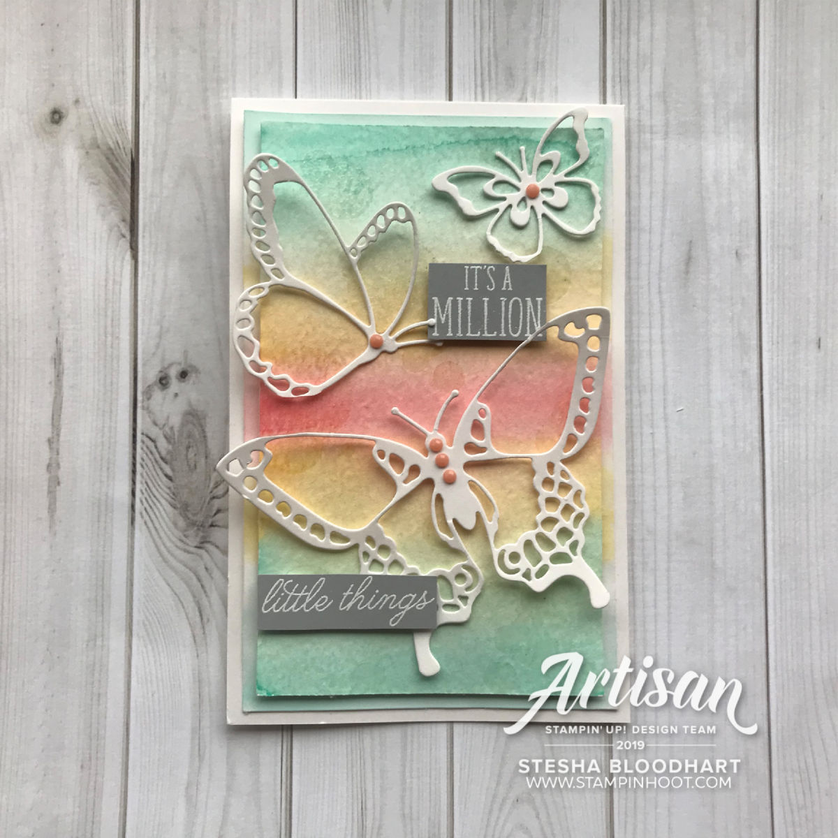Beauty Abounds Bundle by Stampin' Up! Pastel Butterfly Card by Stesha Bloodhart, Stampin' Hoot! Stamp Review Crew
