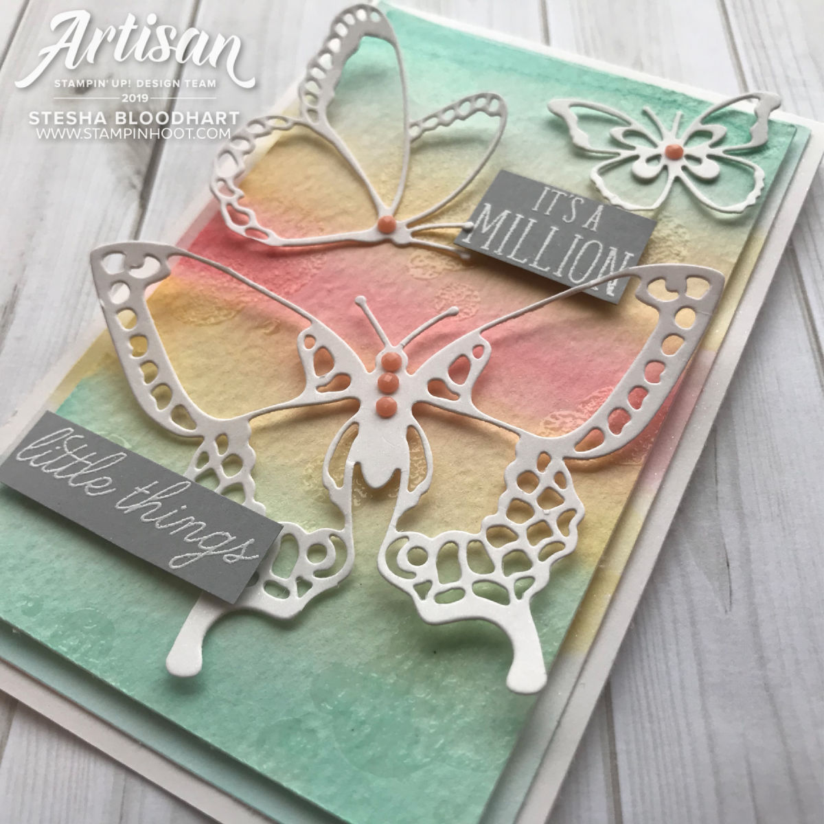 Beauty Abounds Bundle by Stampin' Up! Pastel Butterfly Card by Stesha Bloodhart, Stampin' Hoot! Stamp Review Crew(1)