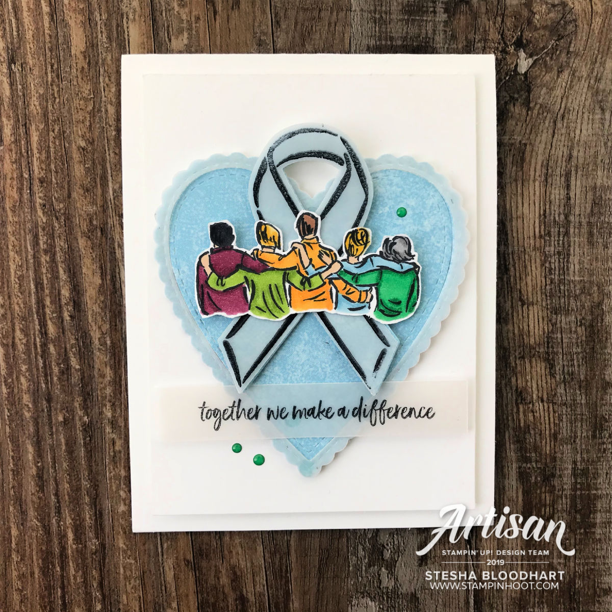 Create this friend card using the Artfully Aware Stamp Set by Stampin' Up! Card created by Stesha Bloodhart, Stampin' Hoot!