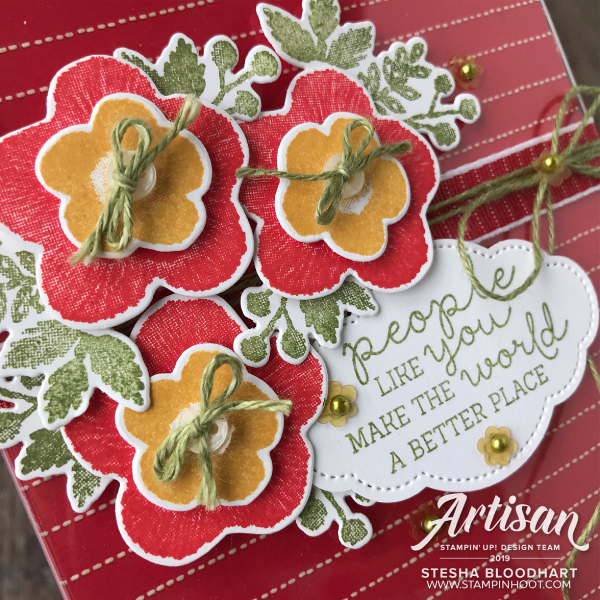 Needlepoint Nook Suite from Stampin' Up! Card and Holder by Stesha Bloodhart, Stampin' Hoot!