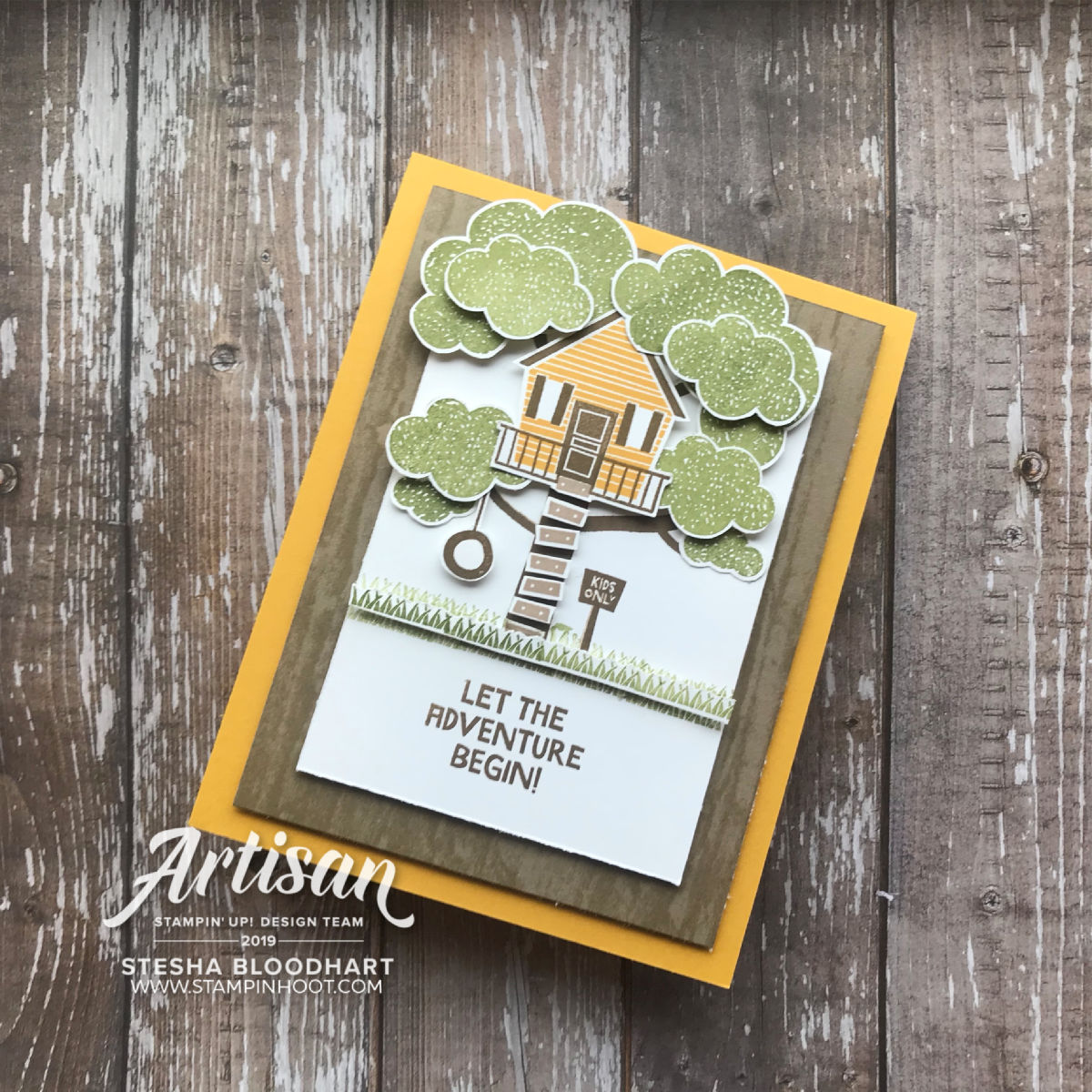 Treehouse Adventure Stamp Set by Stampin' Up! Card created by Stesha Bloodhart, Stampin' Hoot! #steshabloodhart #stampinhoot
