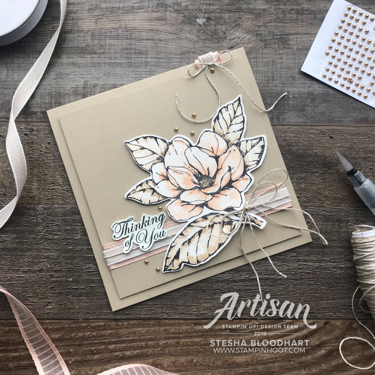 Create this handmade card using the all new Good Morning Magnolia Bundle by Stampin' Up! Stesha Bloodhart, Stampin' Hoot!