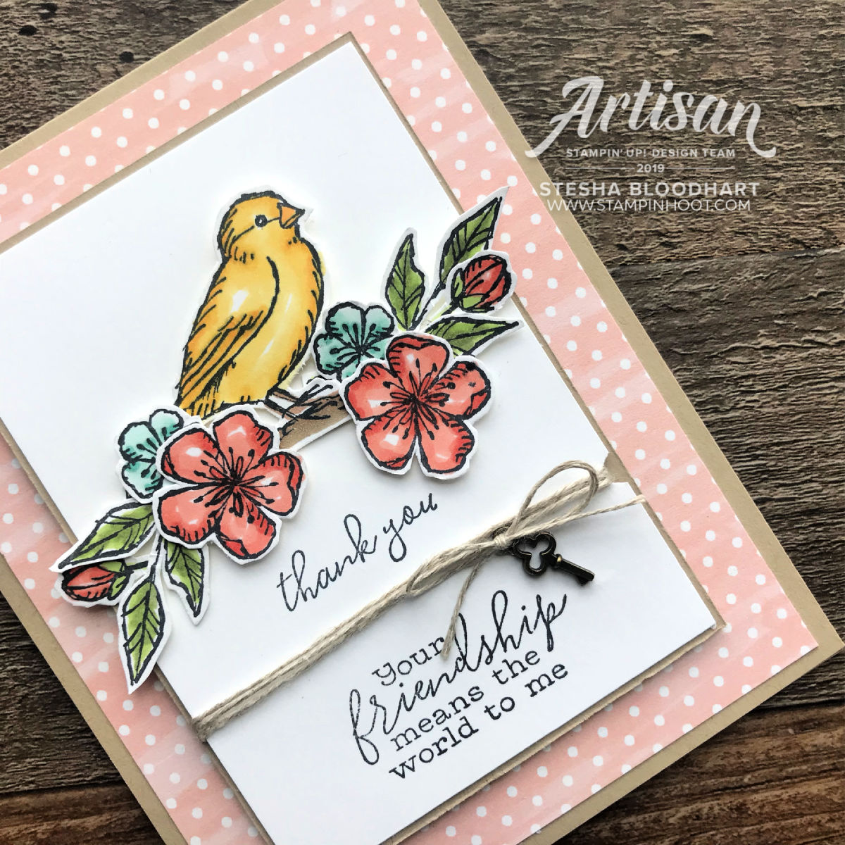 Sneak Peek Free As A Bird Stamp Set by Stampin' Up! Thank You Card by Stesha Bloodhart, Stampin' Hoot! #gdp188