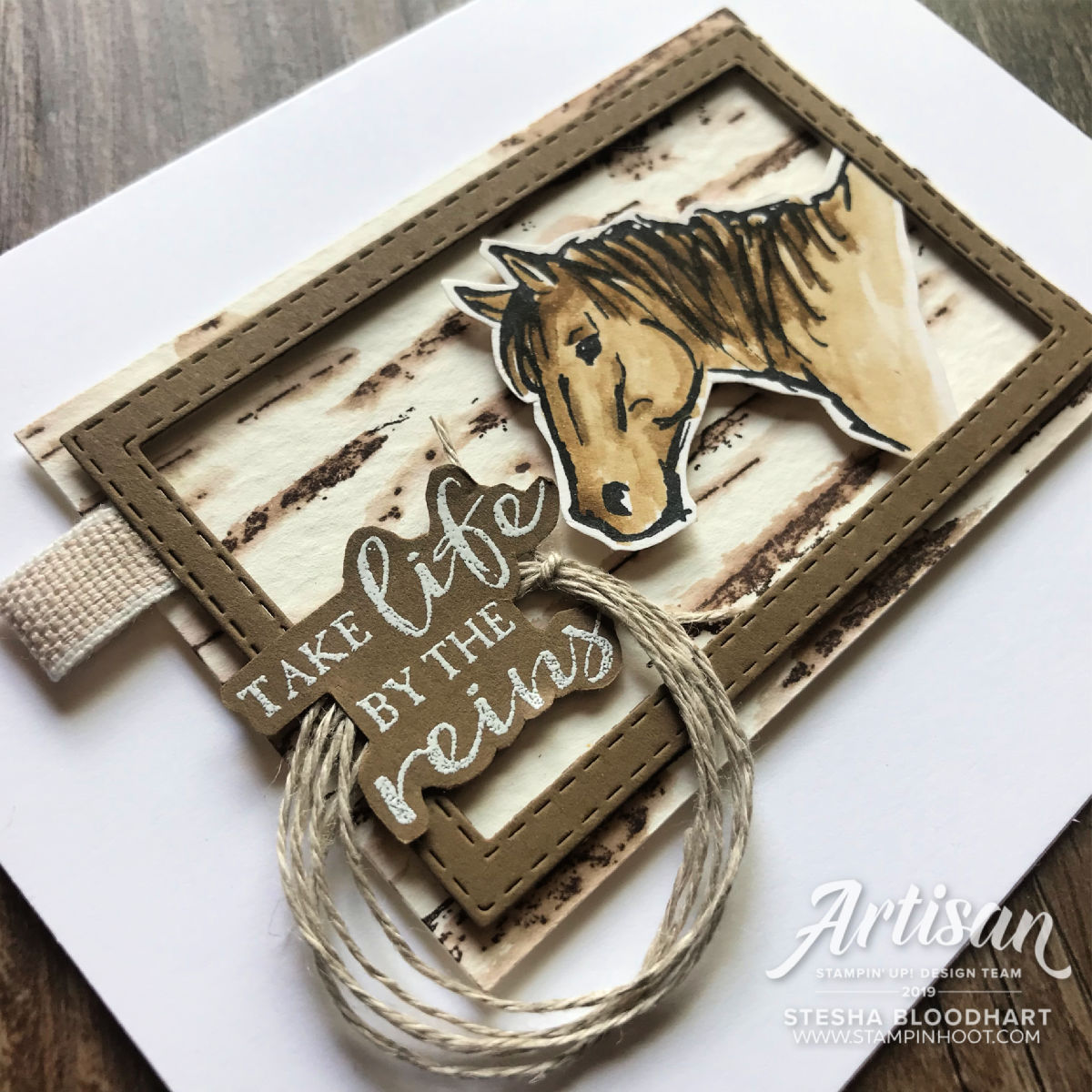 Let it Ride and Birch Background Stamps by Stampin' Up! Card by Stesha Bloodhart, Stampin' Hoot!