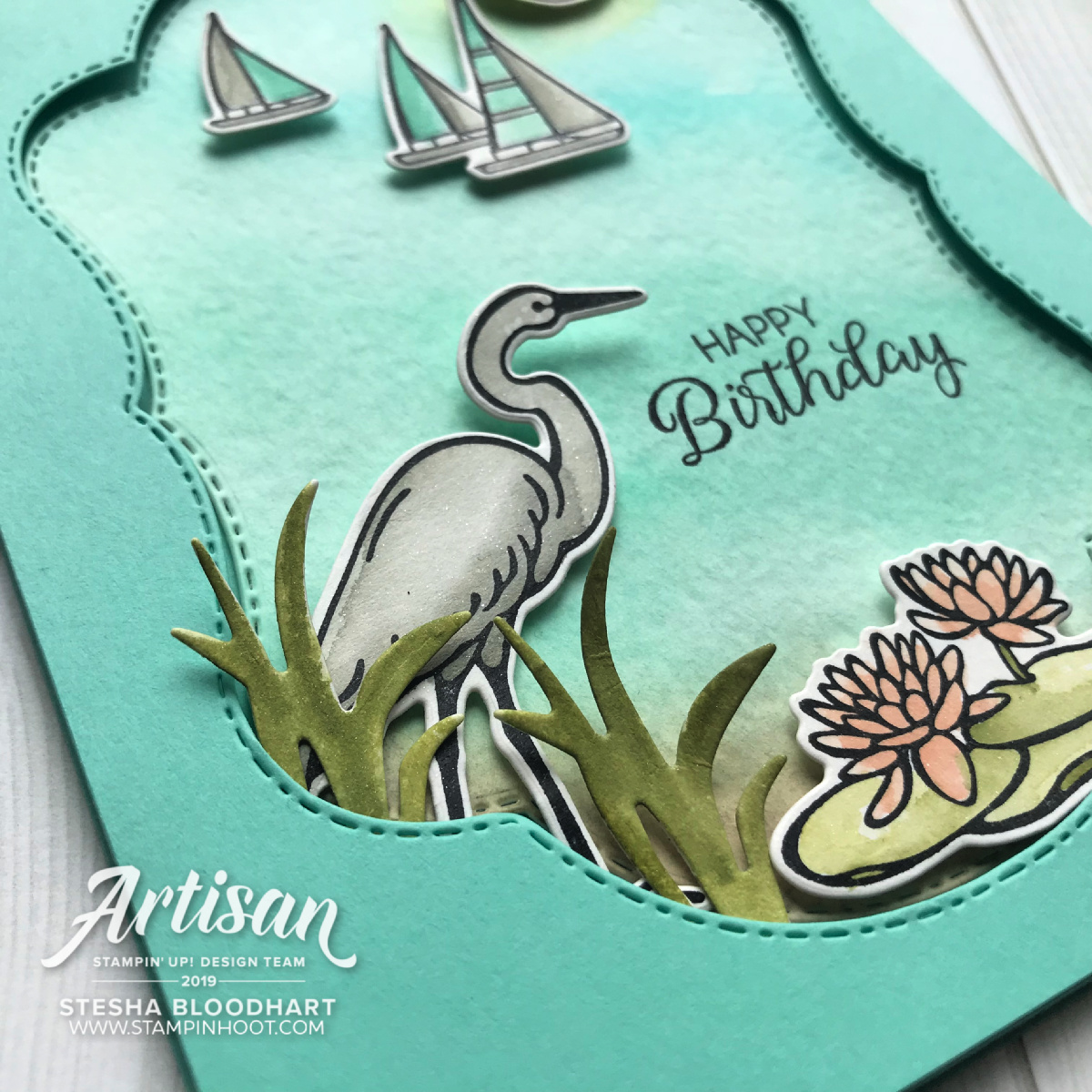 lilypad lake stamp set by stampin' up! card by stesha bloodhart, stampin' hoot