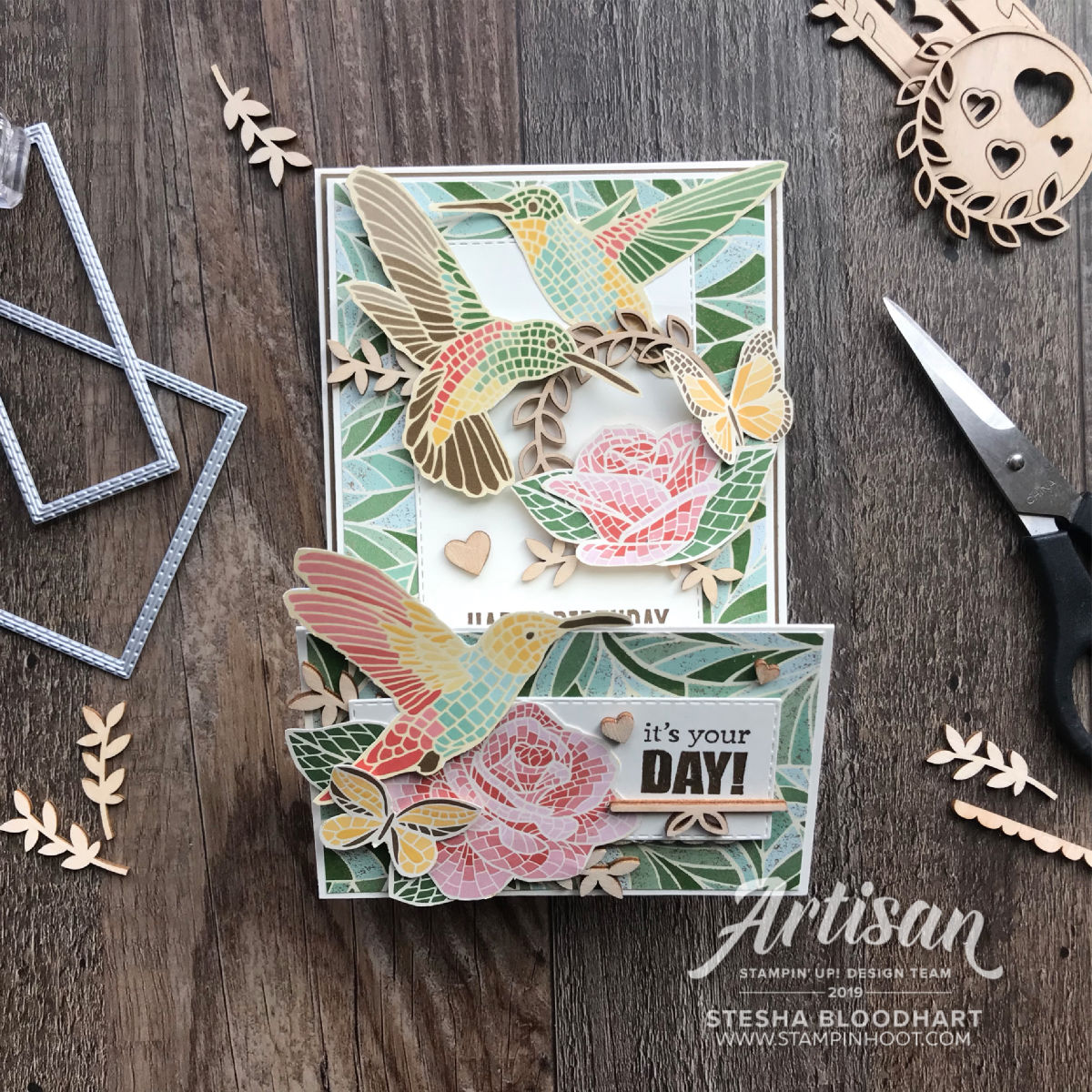 Mosaic Mood Designer Series Paper by Stampin' Up! WATERFALL Card by Stesha Bloodhart, Stampin' Hoot!