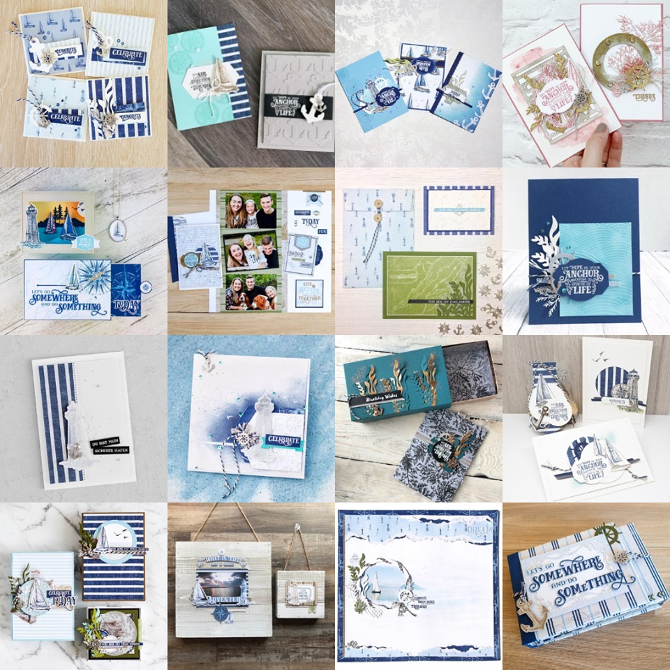 2019 Artisan Design Team June Blog Hop Grid - Come Sail Away