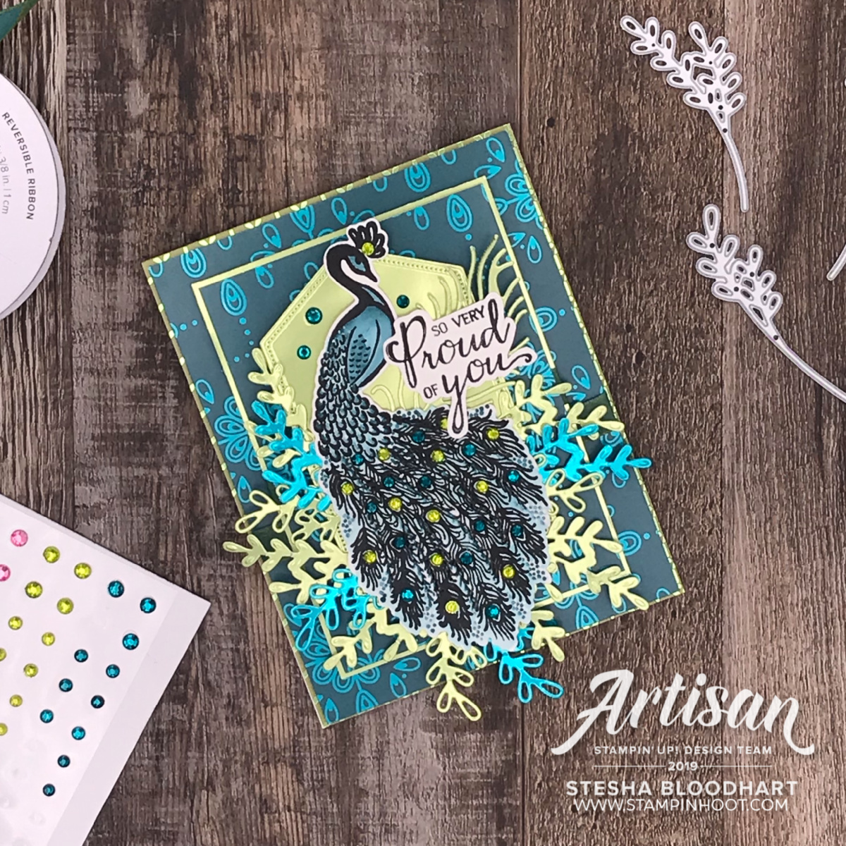 Noble Peacock Suite of Products by Stampin' Up! Card by 2019 Artisan Stesha Bloodhart, Stampin' Hoot