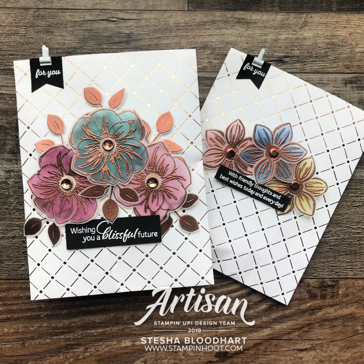 Floral Essence Stamp Set & Copper Dotted Treat Bags July 2019 Artisan Blog Hop Stesha Bloodhart