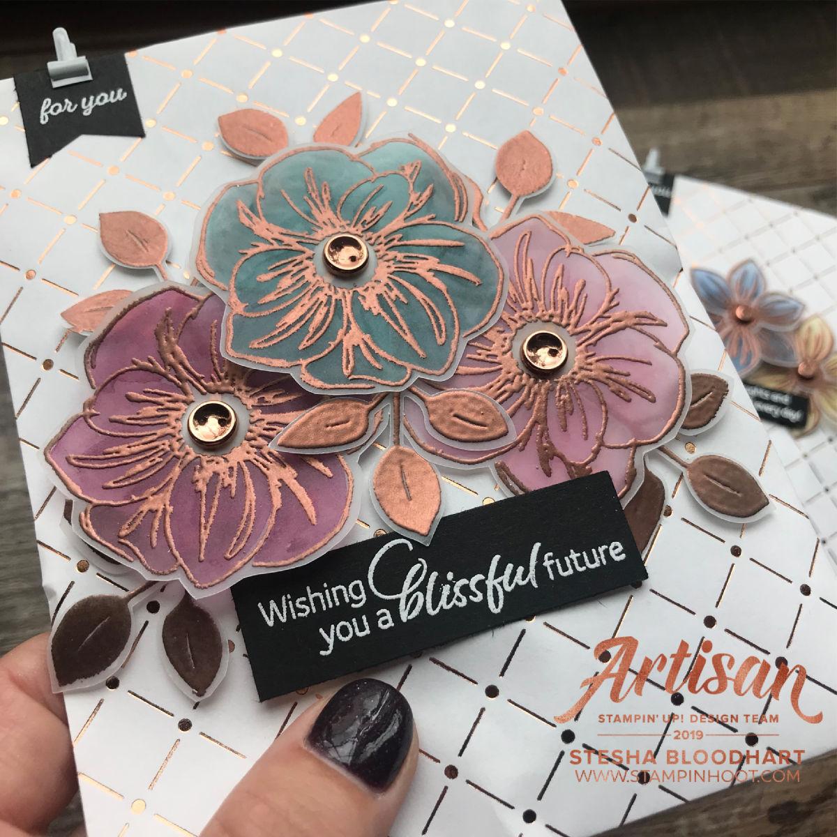 Floral Essence Stamp Set & Copper Dotted Treat Bags July 2019 Artisan Blog Hop Stesha Bloodhart