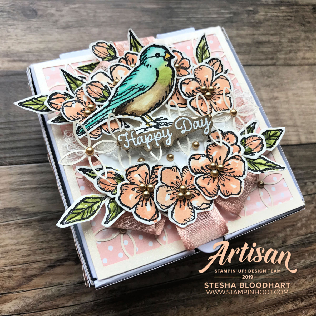 Mini Pizza Gift Box Bird Ballad Suite Trio of Wedding Creations by 2019 Artisan Design Team Member Stesha Bloodhart, Stampin' Hoot for SCT Blog
