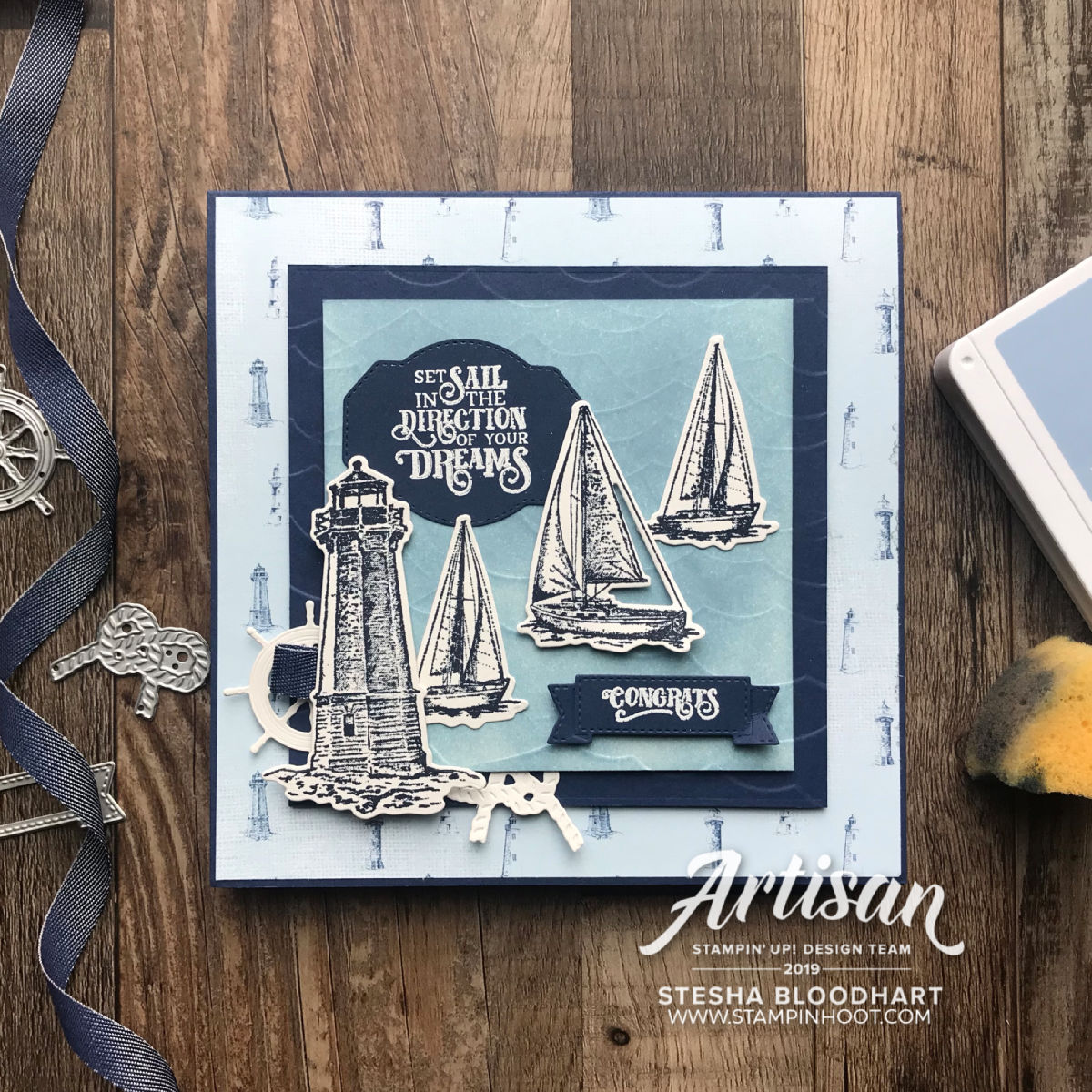 Sailing Home Bundle from Stampin' Up! Graduation card created by Stesha Bloodhart, Stampin' Hoot for Stamp Review Crew #stampinup