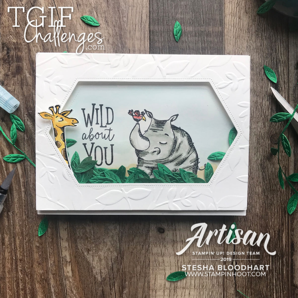 #tgifc222 Technique Challenge - Shake It Up Shaker Card using Animal Outing from Stampin' Up! Stesha Bloodhart, Stampin' Hoot! #stampinup