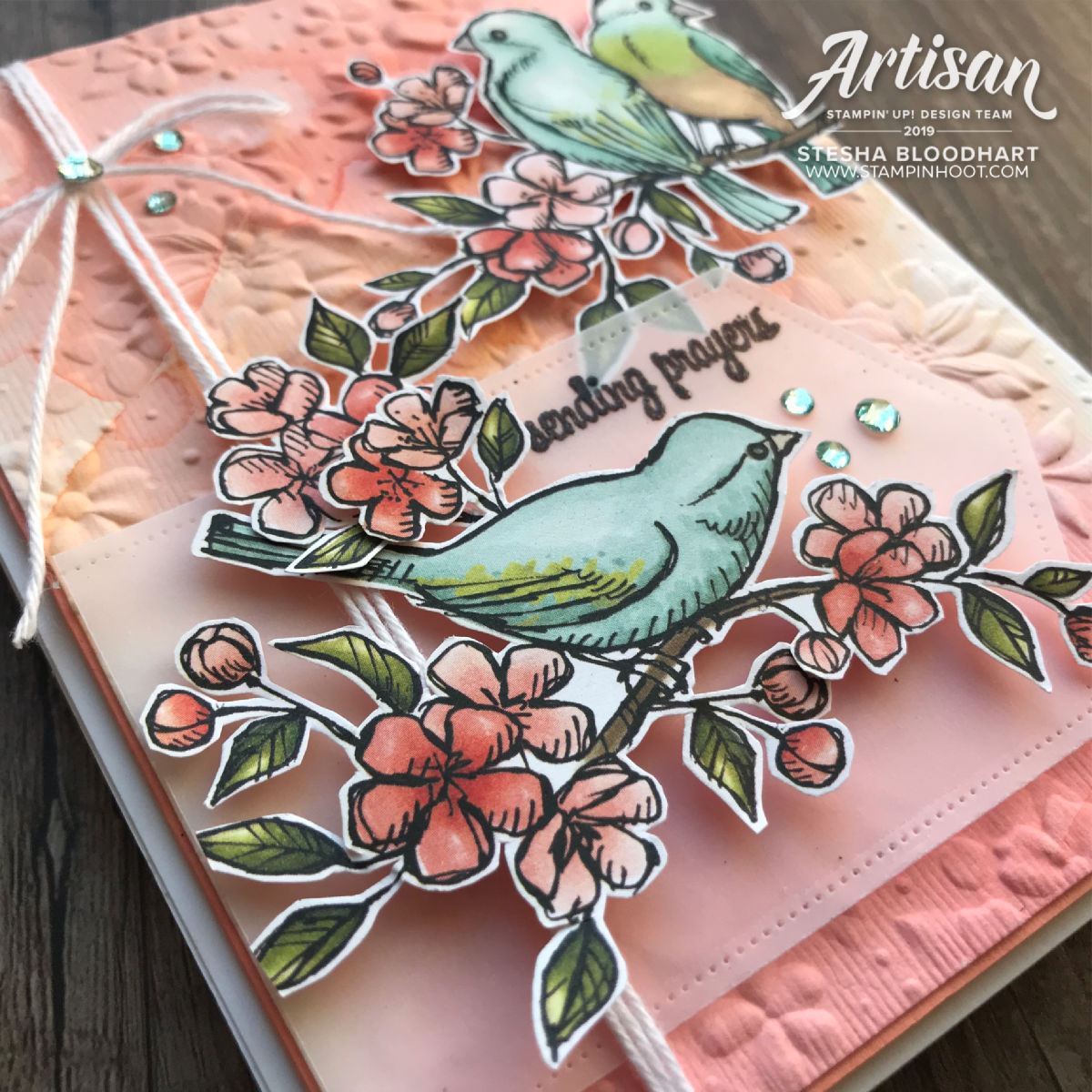 Country Floral 3D Embossing Folder & Bird Ballad Designer Series Paper by Stampin' Up! Card created by 2019 Artisan Stesha Bloodhart, Stampin' Hoot!