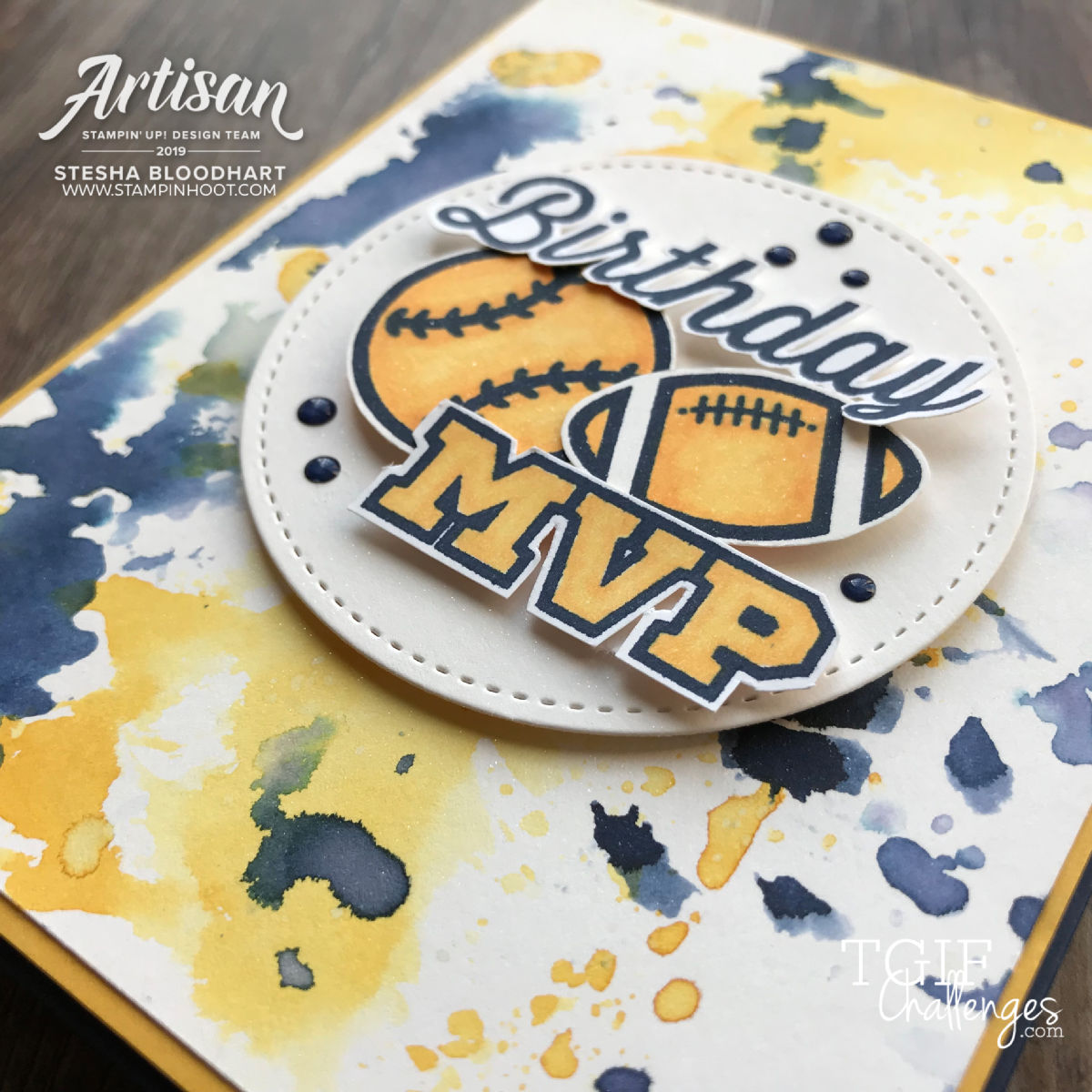 For the Win Stamp Set by Stampin' Up! Card by Stesha Bloodhart, Stampin' Hoot for #tgifc226